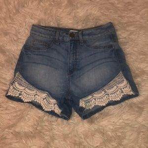 High waisted lace shorts